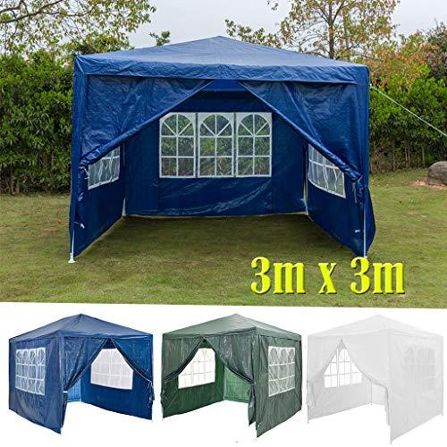 DayPlus 3x3m Garten Pavillon mit Seitenteilen, Wasserdichter und UV-Schutz Markise Festzelt Partyzelt, 120g PE Power Coated Steel Frame Hochzeitszelt Blau