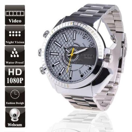 FLY-SHOP-16GB HD Water-Resistant Spy Watch Orologio Spia Videocamera Nascosta Visione Notturna Cinturino Argento + Pannello di Maglia