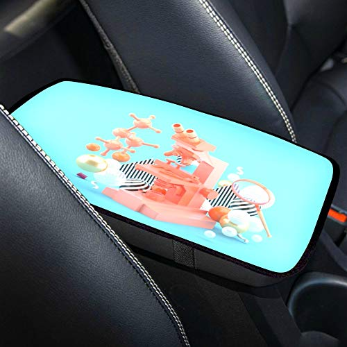 LWZY Waterproof Car Armrest Cover Blue Microscope Among Colorful Balls On Universal Auto Center Console Cover Pad Car Armrest Cushion Armrest Seat Box Cover,fit for for SUV/Truck/car