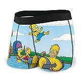 Henrnt Cartoon The Simpsons Herren Boxershorts Bequeme Polyesterfaser Gr. L, Schwarz