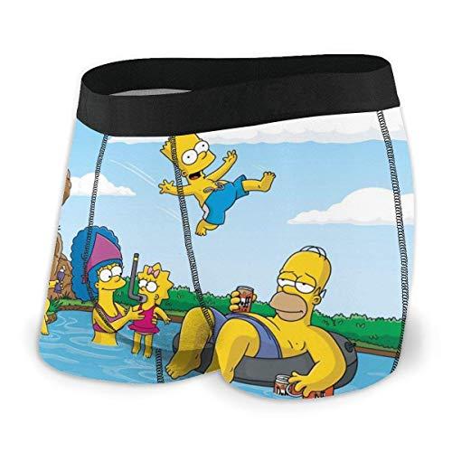 Henrnt Cartoon The Simpsons Herren Boxershorts Bequeme Polyesterfaser Gr. XL, Schwarz