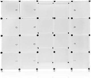 Sebastianee Armoire Portable DIY, Plastique Penderie 12 grilles+2 rangées, Cube de Rangement pour Vêtements, Chaussures, A...