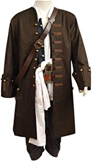 RedJade Pirates of The Caribbean Jack Sparrow Outfit Traje de Cosplay Disfraz/ Chaqueta Chaleco cinturón Camisa Pantalones Hombres XXL
