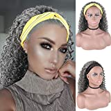 Curly Wave Loose Wave Headband Wigs with Headbands Attached Half Wigs for Black Women Cute Dark Gray Wig,CINHOO Afro Kinky Curly Black Hair Wig Synthetic Headband Wigs for Black Women(Grey)