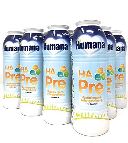 Humana HA PRE, hypoallergene Anfangsmilch für Babys mit erhöhtem Allergie-Risiko, trinkfertige Babymilch im praktischen Fläschchen, von Geburt an, 12er Pack (12 x 490 ml)