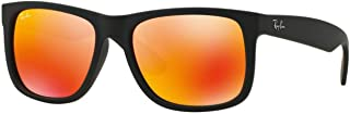 Ray-Ban 0RB4165 Square Sunglasses, Black Brown Mirror & Orange, 55 mm