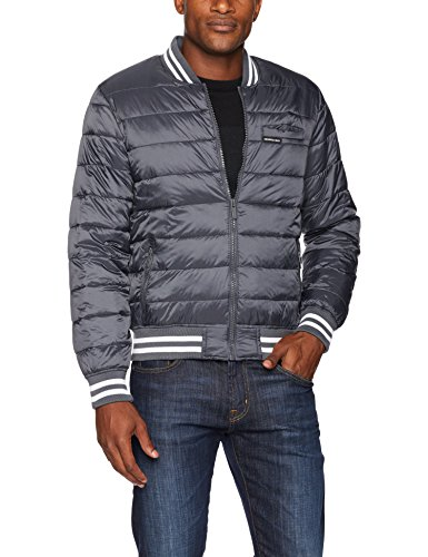 Members Only Men's Down Blend Varsity Puffer Jacket, Charcoal, M