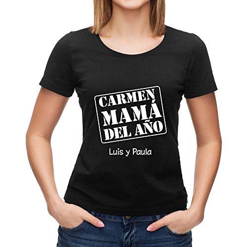 Calledelregalo Regalo para Madres Personalizable: Camiseta 'mamá del año' Personalizada con su Nombre y el tuyo (Negro)