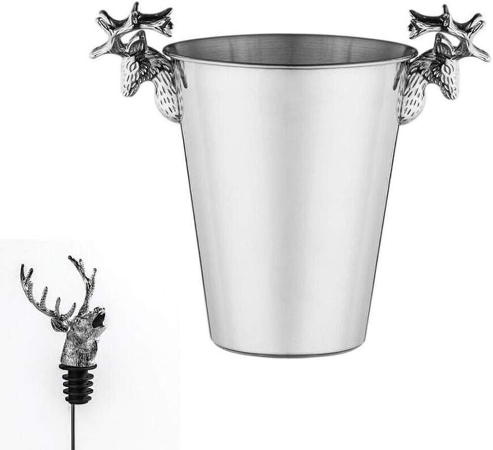 SHIJIAN Champagne Bucket Ice Cooler Enfriador de Acero Inoxidable con Placa de Cromo Gran Botella de Vino Decorativa Grande Limpia Fiesta Bañera Piscina Bebida Bar Ware para Cerveza Jugo de CE