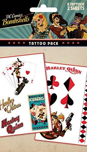 1art1 DC Comics - Harley Quinn Bombshell, 11 Tattoos Set De Tattoos (17 x 10cm)