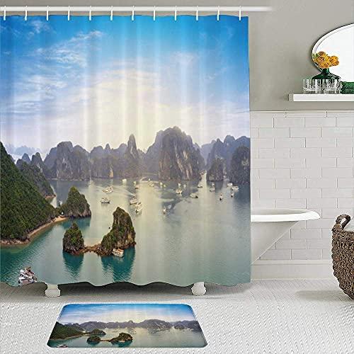 Juego de 2 cortinas de ducha con alfombrilla antideslizante, paisaje de Vietnam, pintoresco paisaje de la bahía de Halong, vista panorámica, punto geográfico, 12 ganchos, decoración de baño personali