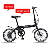 Chang Xiang Ya Shop 16 Pouces vélo de Vitesse vélo Pliant Ultra-léger for Les Enfants de vélo Absorbant Les Chocs Adultes VTT Petit Scooter Banlieue (Color : Black, Size : 16 inches)