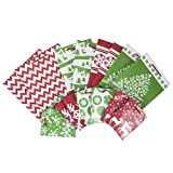 Image Arts Holiday Gift Bag Assortment, Red and Green Snowflakes, Reindeer, Chevron (Pack of 16 Small, Medium, Large Bags for Classrooms, Treats, Gift Exchanges)