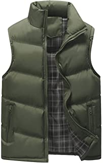 Men's Autumn Winter Casual Stand Collar Pure Color Zipper Vest Jacket Top Coat