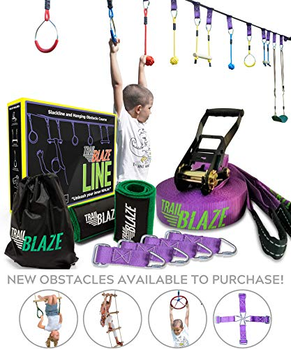 Trailblaze Ninja Warrior Obstacle Course for Kids - 50 ft Slackline Ninja Line Monkey Bars Kit & Bonus Seat Swing - More Obstacles Than Ever w/ Adjustable Positions - Perfect Ninja Course Training