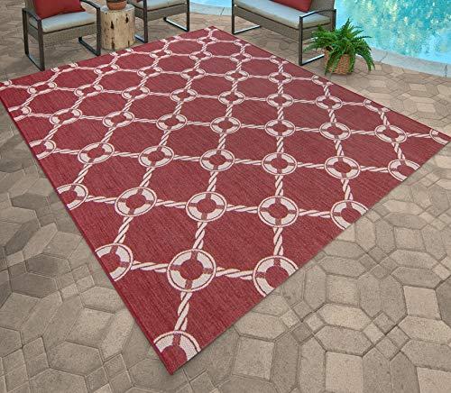 Gertmenian 21628 Nautical Tropical Carpet Outdoor Patio Rug - Alfombra para Exteriores (5 x 7), Color Rojo