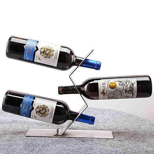 ZUQIEE Estante de vino, estante para botellas de vino tinto para almacenamiento de botellas de vino tinto con manga de metal moderna y minimalista (color: plata, tamaño: 28 x 28 x 8,5 cm)