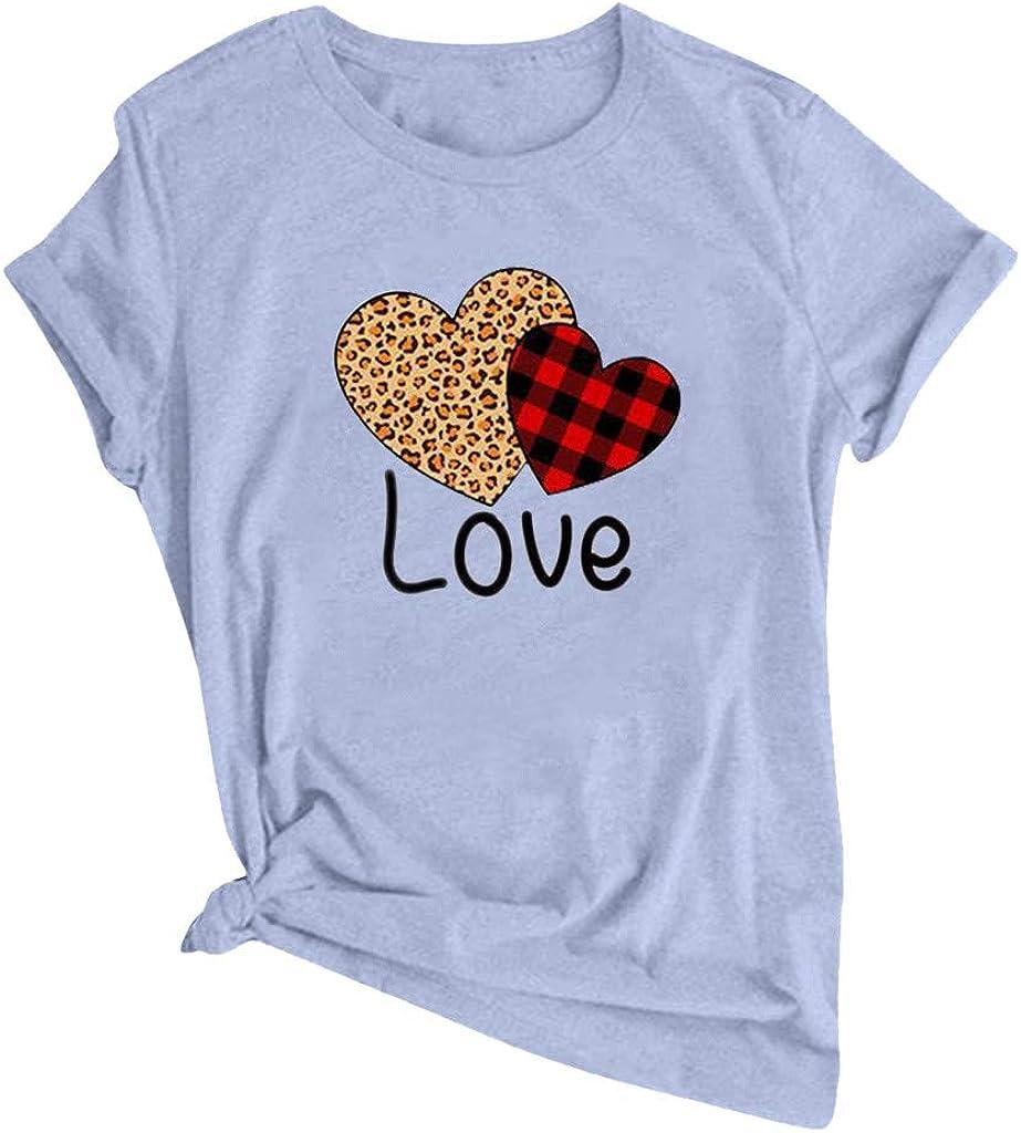AOKASII Womens Short Sleeve Tops,Valentine's Day Graphic Tee Tops Women Love Heart Print Short Sleeve T-Shirt Top Blouses