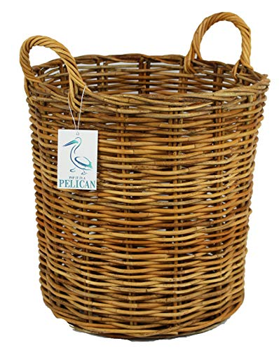The Pescara Collection Round Natural wicker baskets. Home Storage Solution. Open bin for wood, fireplaces, clothes, Logs, kindling, laundry and toys (35 ltr)