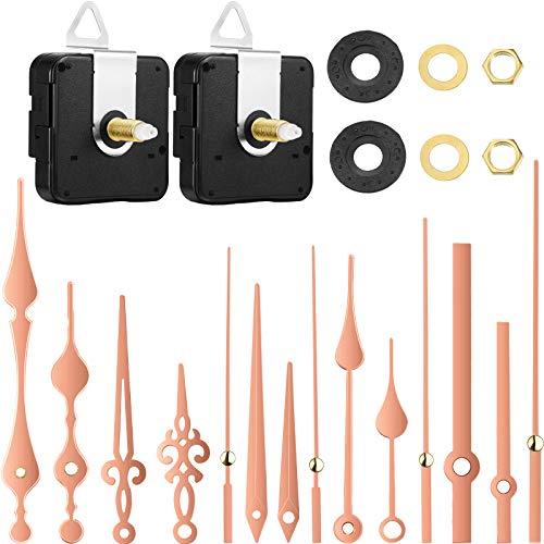 2 Piezas Mecanismos de Movimiento de Reloj de Eje Largo de Alto Par con 5 Pares Diferentes de Reemplazos de Piezas de Reparación de Reloj de Manos (Oro Rosa)