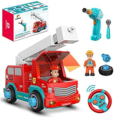 Remote Control Firetruck Toy with Play Tools