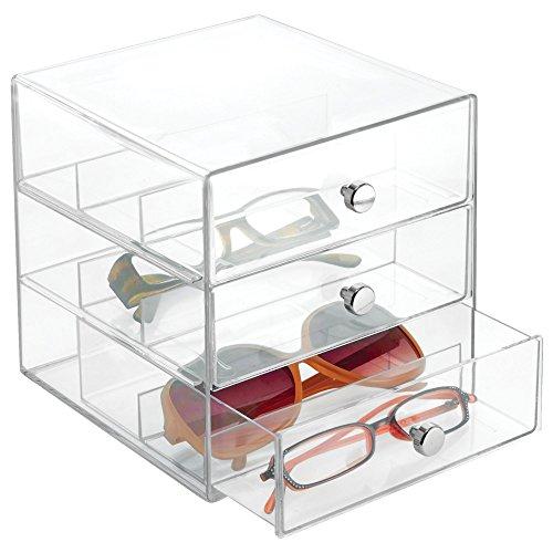 iDesign 3 Plastic Vanity Compact Storage Organization Drawers Set for Cosmetics Glasses Dental Supplies Hair Care Bathroom Dorm Desk Countertop Office 7 x 65 x 65