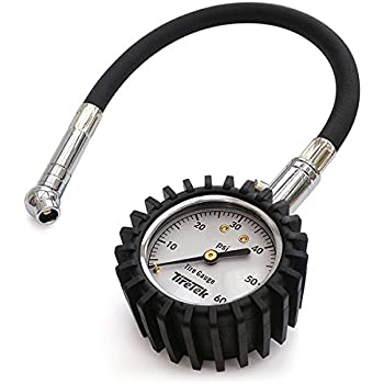 TireTek Motorcycle Tire Pressure Gauge 0-60 PSI - Tire Gauge with Flexible Air Chuck and ANSI B40.1 Accuracy for Motorcycle, Bike, ATV, Car and SUV