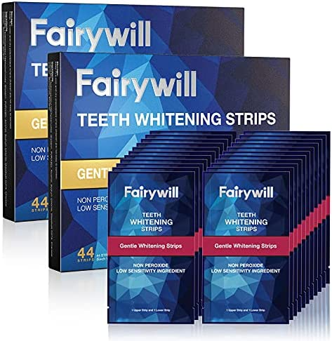 Fairywill Teeth Whitening Strips, 44 Pcs, No Sensitive Teeth Whitener Strips, Enamel Safe Teeth Whitening Kit, White Strips with Fast Whitening Results, Remove Tough Stains&Mint Flavor(22 Set)