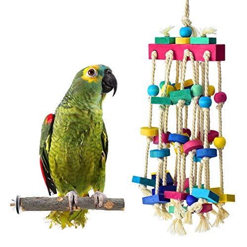 ERKOON Vogelspielzeug für Vögel, Papageien, Schaukel, Kauspielzeug aus Naturholz, zum Aufhängen, für kleine Sittiche, Nymphensittiche, Sittiche Finken, Wellensittiche