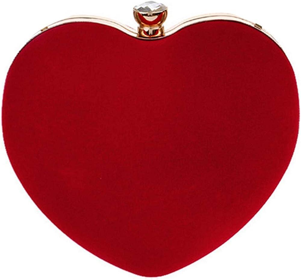 Max 50% OFF Buddy Women Heart Shape Clutch Evening Velvet Bag Purse Save money Shoulder