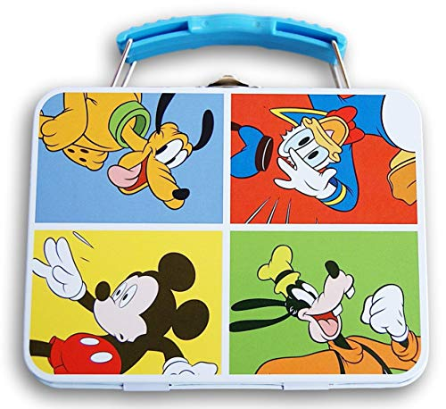 Mickey Mouse Tin Metal Carryall Box Tote with Handle - Measures 5.5 x 4.25 Inches (Primary Colors)