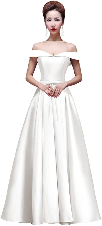 Drasawee Women's Elegant Strapless Satin Wedding Party Dress A Line Evening Gowns White US0