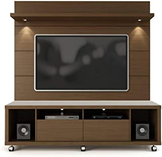 Manhattan Comforts 1.8 Cabrini Stand and Floating Wall TV Panel with LED Lights, 71Lx17.5Wx73H, Nut Brown
