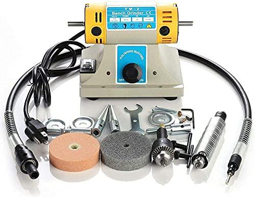 Pulidora y lijadora de torno de banco 350W Joyas eléctricas Pulidora de piedras preciosas Pulidora Máquina pulidora Kits de herramientas para pulir metal, plástico, azulejos, etc. Conveniente