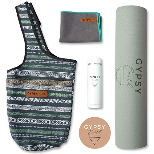 Gypsy Earth Yoga Carry Bag with Yoga mat (Grey) with Free Sustainable Water Bottle and Micro Fiber Towel, Fit Most Size Mats, Multi-Functional Usage, Yoga Tote Bag, Yoga Gift Set, Yoga Starter Kit