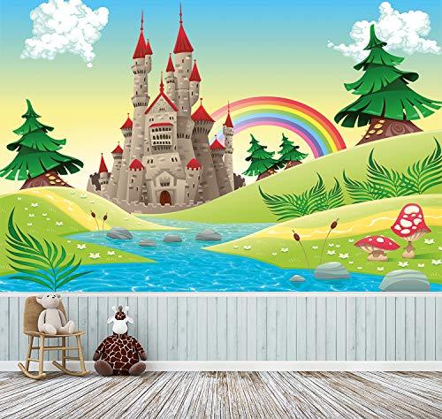 Tapete für Kinder selbstklebend | Burg - Märchenschloss | in 300x200 cm | Kindertapete Tapete Wand-deko Dekoration Kinderbild Kinderzimmer Mädchen