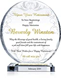 """Personalized Crystal Circle Coworker Retirement Gift Plaque for Man or Woman, Customized with Employee and Company Name, Unique Retirement Award for Coworker, Colleague and Friend (M - 6.5"""")"""