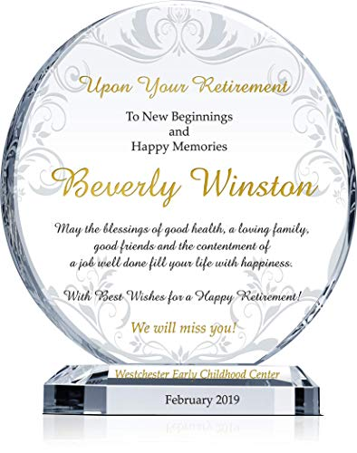 Personalized Crystal Circle Employee Retirement Gift Plaque for Man or Woman, Customized with Employee and Company Name, Unique Retirement Award for Coworker, Colleague and Friend (L - 8