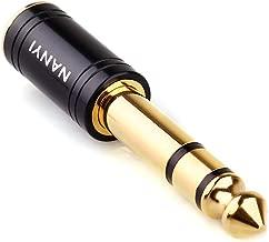 NANYI 1/4'' Male to 1/8'' Female Stereo Headphone Adapter, Upgrade 6.35mm Jack Stereo Socket Male to 3.5mm Jack Stereo Plug Female for Headphone, Amp Adapte, Black 1-Pack