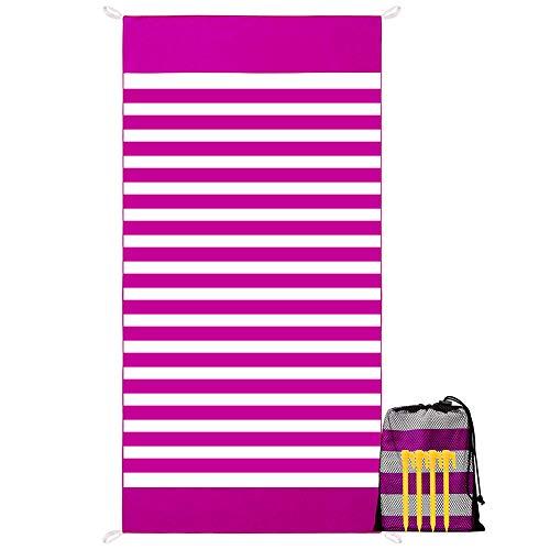 YZCX Toalla de Playa de Microfibra Secado Rápido Absorbente Manta de Playa Extra Grande 180x90cm Deportes Toalla con Clavos de Tierra y Bolsa para Viajes, Nadar, Playa, Piscina (Rojo)