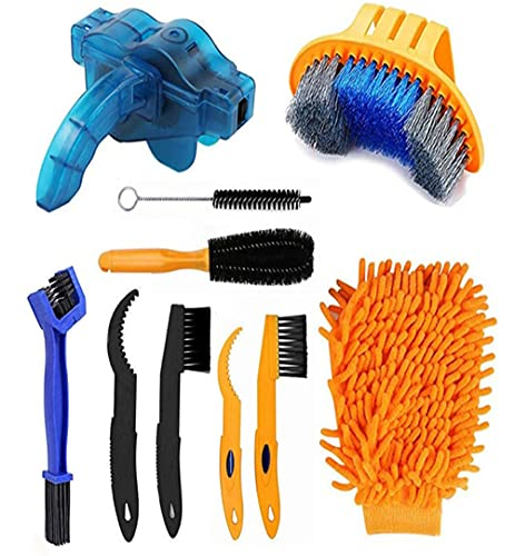 Bicycle Cleaning Brush, 10 Piece Precision Bicycle Cleaning Brush Tool for Bicycle Chain/Crank/Tyres/Chainring/Cycling Corner Stain Suitable for All Bikes