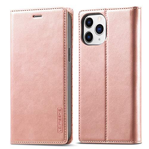 QLTYPRI Funda para iPhone 12 Pro Max, estilo vintage, funda de piel sintética, con tarjetero, función atril, carcasa de poliuretano termoplástico (TPU), color oro rosa