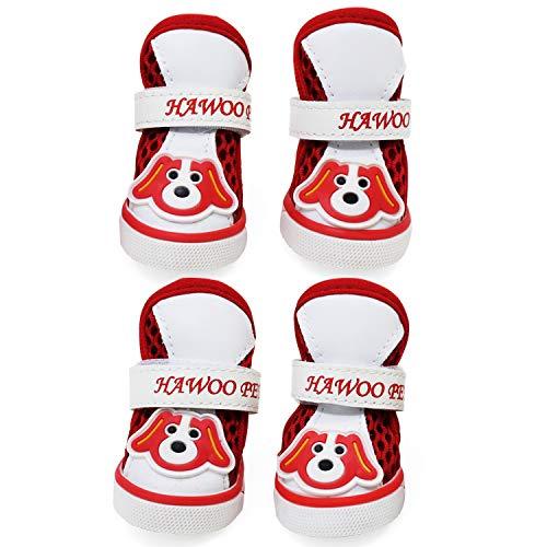 KEESIN Atmungsaktive Mesh-Hundestiefel, Rutschfester Gummisohlen-Pfotenschutz, Hundeschuhe mit Verstellbaren Reflektierenden Trägern für Kleine Hunde (#4)