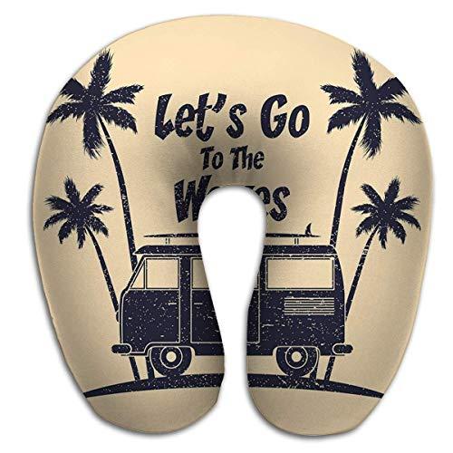 U-förmiges Kissen, Surfen Grunge Typografie Surf Bus Palmen Surfbrett Kleidung Druckprodukt Bekleidung Surfen