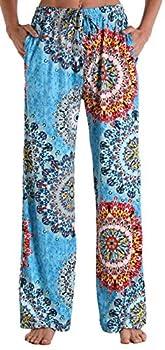 X-Image Women Lightweight Lounge Sleep Pajama Bottoms Athletic Pants Soft Pants for Yoga Flower Printed Pants Green Datura Flower XX-Large