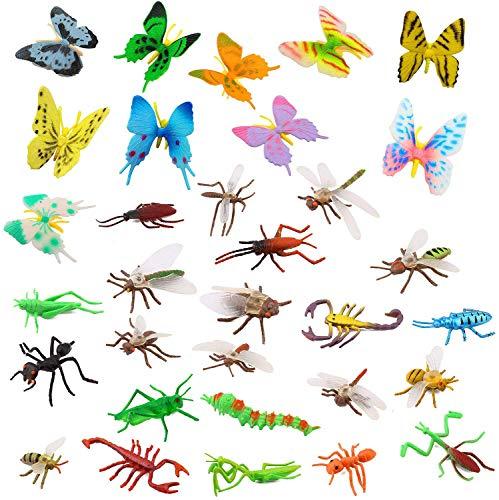 OOTSR Insectos de plástico [Paquete de 22] y Mariposas Coloridas Surtidas [Paquete de 12], Insectos simulados de 1