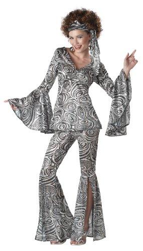 Generique - Disco-Kostüm 70er-Jahre für Damen Silber-schwarz XL (44/46)