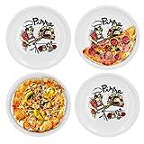 Van Well set di 4 piatti da pizza, grandi, Ø 30,5 cm, con motivo chef da cucina, accessori gastronomici, pasticceria per pizza, stoviglie in porcellana, piatti da grill, piatto da portata antipasti