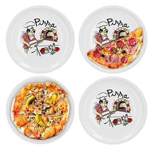 Van Well 4er Set Pizzateller groß Ø 29.5 cm mit Küchenchef-Motiv Gastro-Zubehör Pizza-Bäckerei stabiles Porzellan-Geschirr Grill-Teller Servier-Platte Antipasti