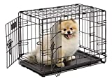 Dog Crate, MidWest iCrate XS Double Door Folding Metal Dog Crate with Divider Panel, Floor Protecting Feet & Leakproof Dog Tray, 22 L x 13 W x 16 H Inches, XS Dog Breed, Black